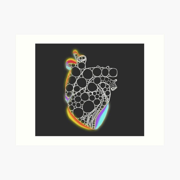 Fractal Heart with chromatic aberrations Art Print