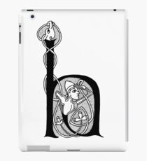 Knight and Dragon Alphabet - H - black and white iPad Case/Skin