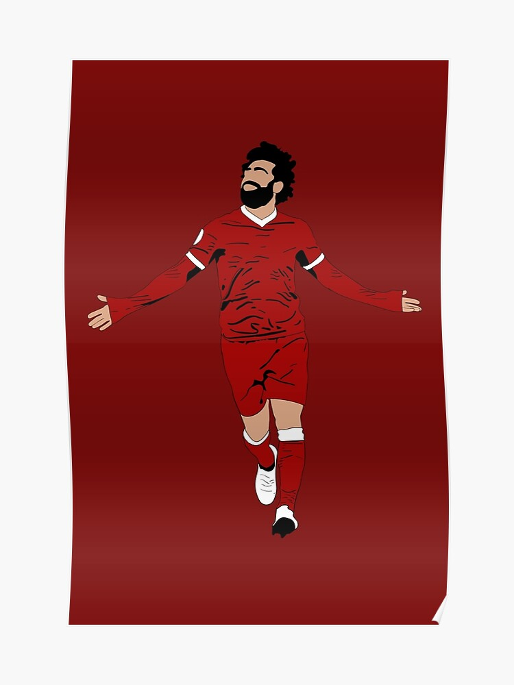 pretty nice e70c9 bc9f8 Mo Salah Illustration - LFC Liverpool FC Gift - Art - Poster - Print -  Clock - T-Shirt - Tee | Poster