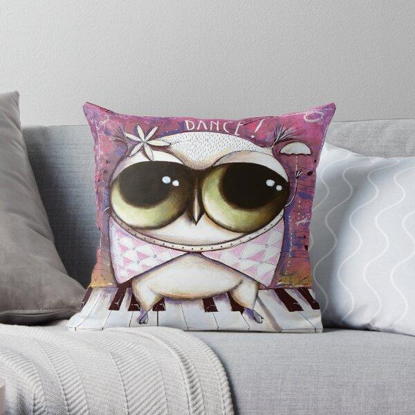 Owl dance on piano Throw Pillow