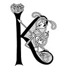 Knight and Dragon Alphabet - K - black and white by AnyaPenfold