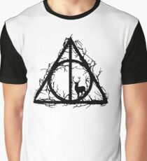 HP Hallows  brenches and stag (black) - wand, cloak, stone Graphic T-Shirt