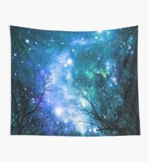 Black Trees Blue Teal Space Wall Tapestry