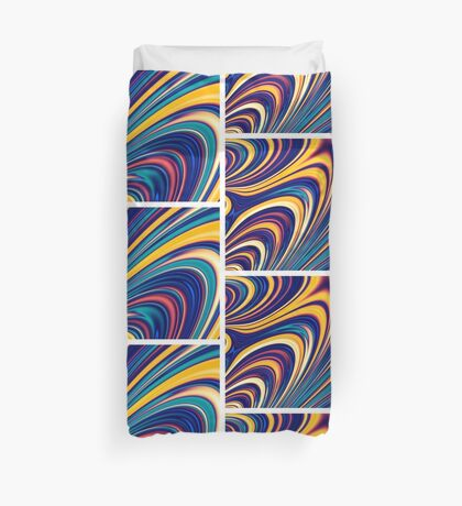 Color and Form - Curved Waves Flowing Lines  Duvet Cover
