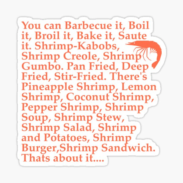 Forrest Gump Citation de crevettes Sticker