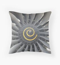 Engine of aircraft gray  Throw Pillow