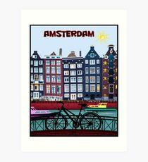FAHRRAD FAHREN; In Amsterdam Holland Drucken Kunstdruck