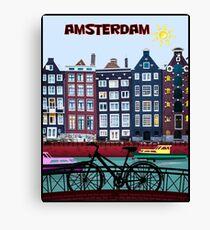 FAHRRAD FAHREN; In Amsterdam Holland Drucken Leinwanddruck