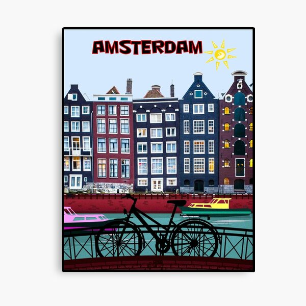 BICYCLE RIDING; In Amsterdam Holland Print Canvas Print