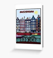 FAHRRAD FAHREN; In Amsterdam Holland Drucken Grußkarte