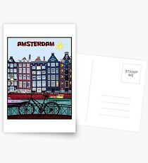 BICYCLE RIDING; In Amsterdam Holland Print Postcards