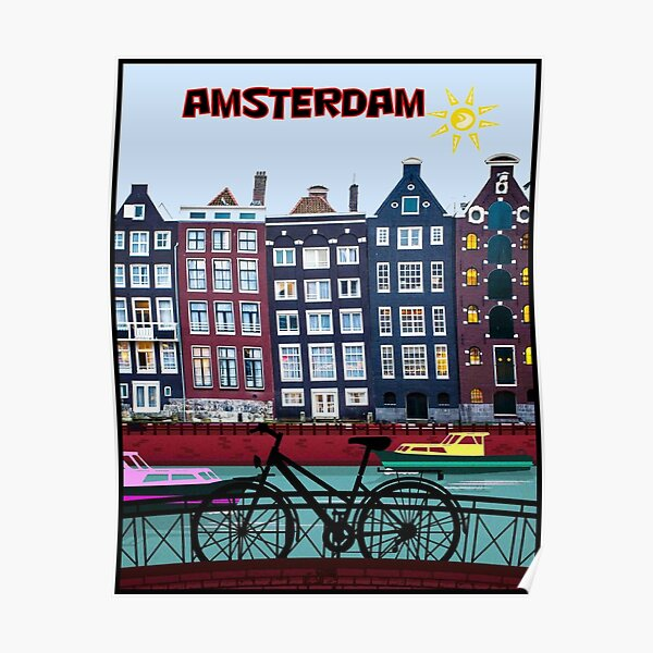 BICYCLE RIDING; In Amsterdam Holland Print Poster