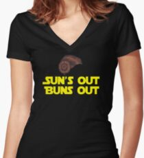 Sun's Out Buns Out Women's Fitted V-Neck T-Shirt
