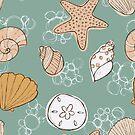 Beachcomber Seashells Green  by kellie-jayne