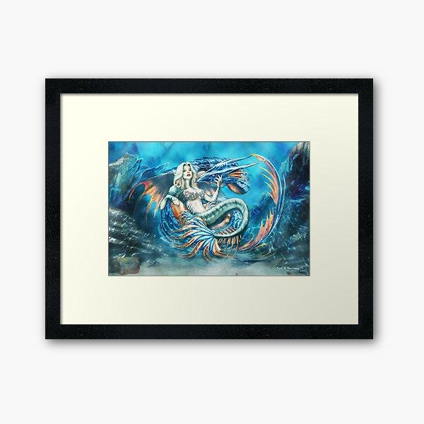 Tempest - Mermaid with Sea Dragon Framed Art Print