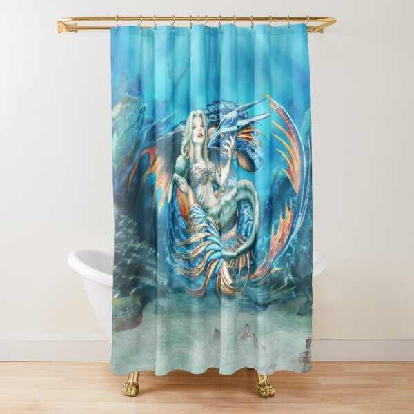Tempest - Mermaid with Sea Dragon Shower Curtain