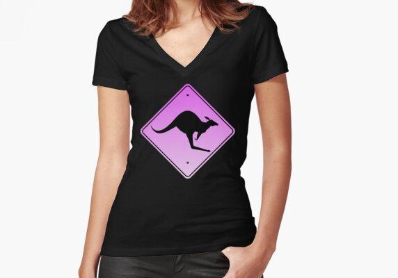 Danger Kangaroos Pink Sign