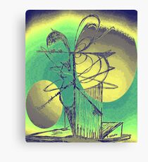 Bird Tree Peach Green Canvas Print