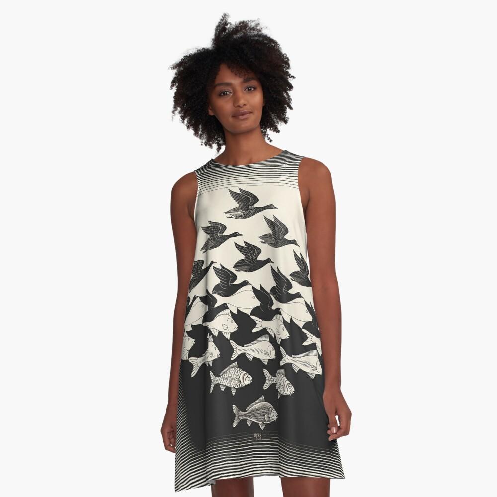 Sky and Water I - Maurits Cornelis Escher A-Line Dress