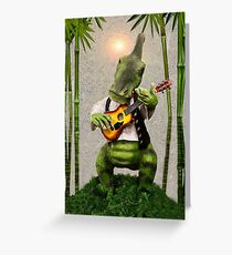 ♪ Dino Guitarist Under the Palms ♪  Greeting Card