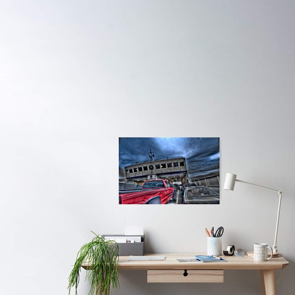 Red Truck on the Ferry Poster