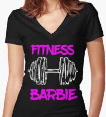 Fitness Barbie Women's Fitted V-Neck T-Shirt