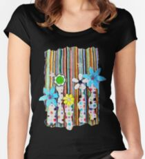 Cut n Paste Flowers Women's Fitted Scoop T-Shirt