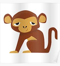 Sleepy Monkey - Cute Animal Illustration Poster