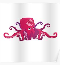 Sleepy Octopus - Cute Animal Illustration Poster