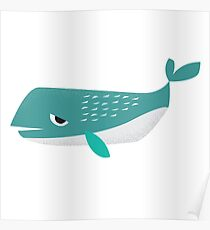 Sleepy Whale - Cute Animal Illustration Poster