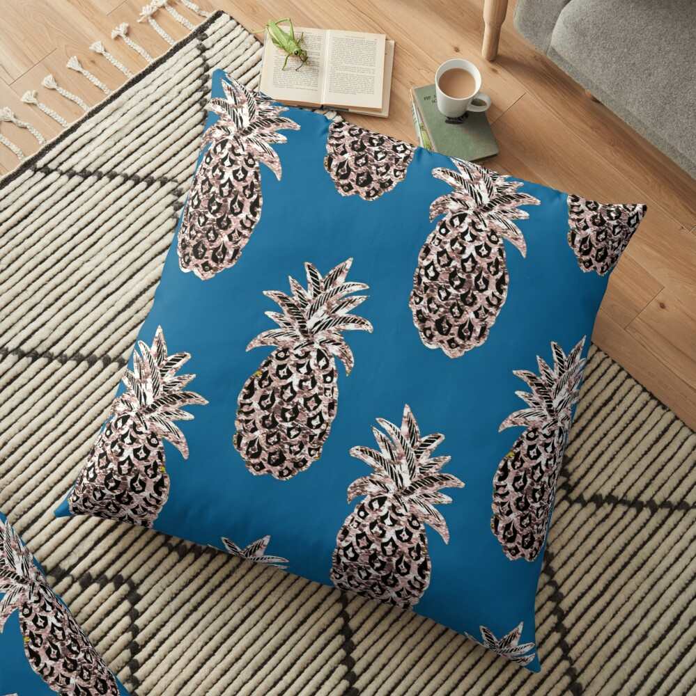 Rose Gold sparkle Pineapples on Teal Floor Pillow
