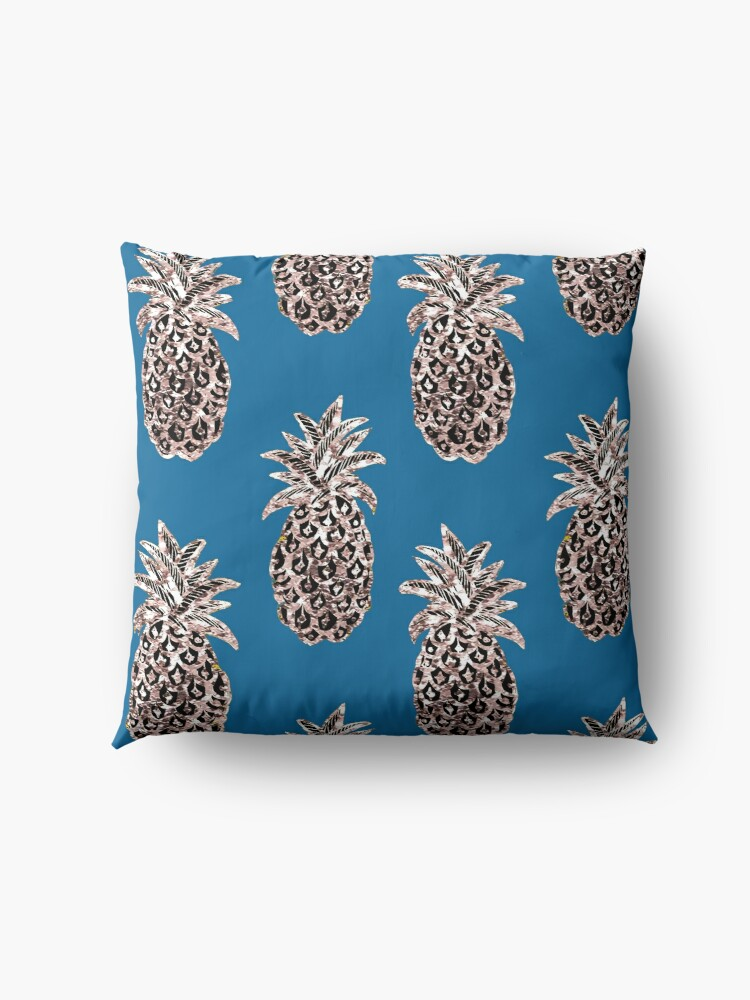 Alternate view of Rose Gold sparkle Pineapples on Teal Floor Pillow