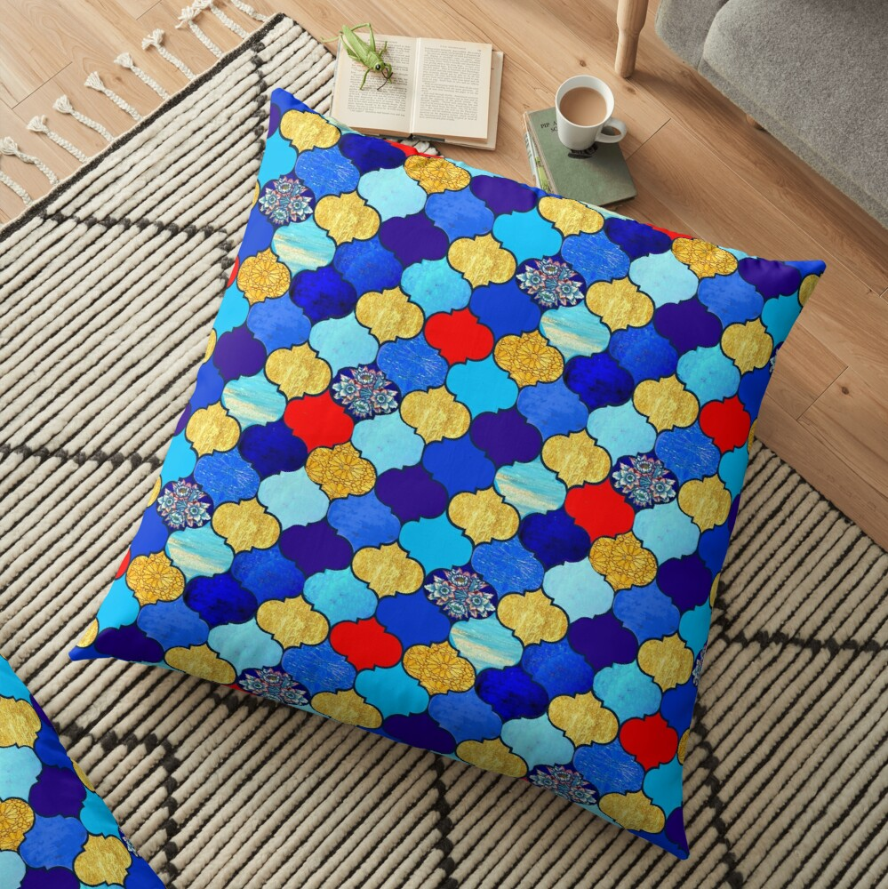moroccan tiles , red, aqua, blue and gold moroccan tiled design by Magenta Rose Designs Floor Pillow