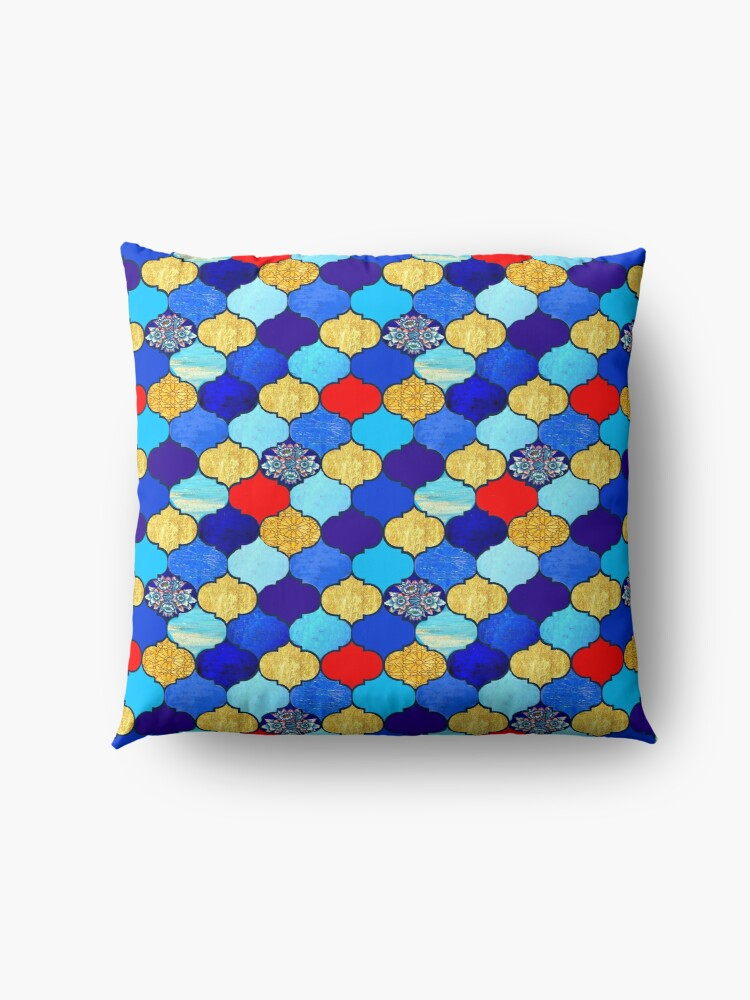 Alternate view of  moroccan tiles , red, aqua, blue and gold moroccan tiled design by Magenta Rose Designs Floor Pillow