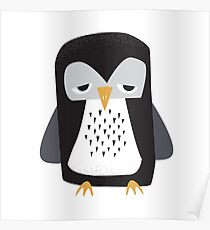 Sleepy Penguin - Cute Animal Illustration Poster