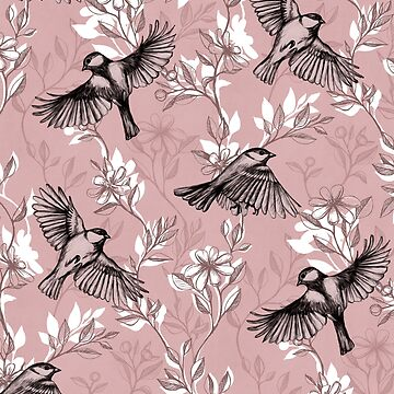 Flowers and Flight in Monochrome Rose Pink by micklyn