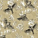 Flowers and Flight in Monochrome Golden Tan by micklyn