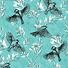 Flowers and Flight in Monochrome Teal by micklyn