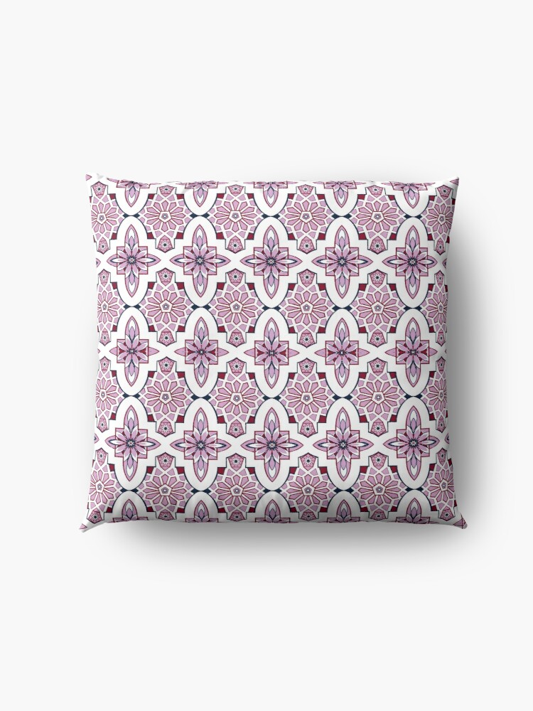 Alternate view of Lavender Moroccan floral with burgundy and navy Floor Pillow