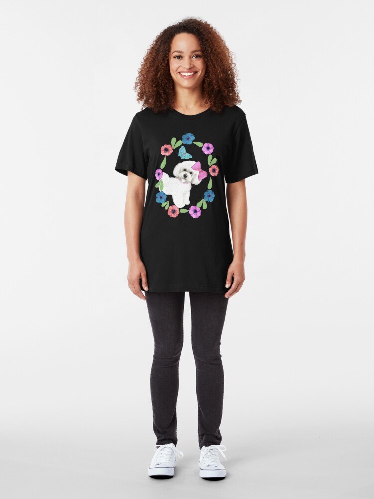 Alternate view of Bichons and Butterflies Slim Fit T-Shirt