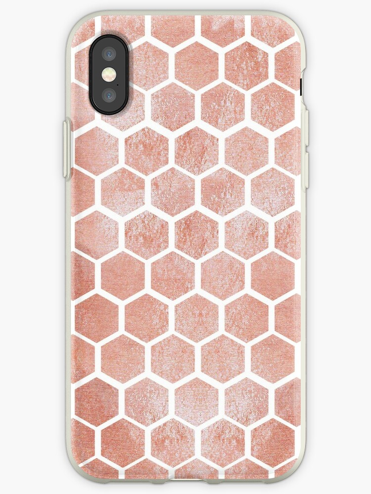 buy online 7dbe9 55bee 'Rose gold bee cube pattern,Rose gold, bee cube,  pattern,modern,trendy,geometric,white,elegant,chic' iPhone Case by love999