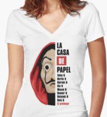 Money Heist Women's Fitted V-Neck T-Shirt