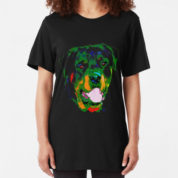 rottweiler glow [BLACK BACKGROUND] Slim Fit T-Shirt