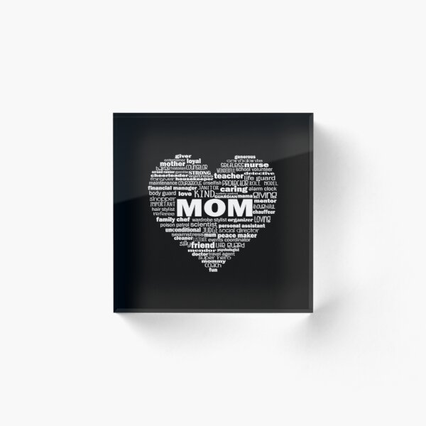 Heart Mom Words in White Acrylic Block