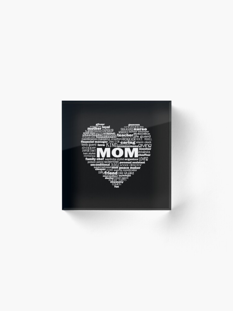 Alternate view of Heart Mom Words in White Acrylic Block