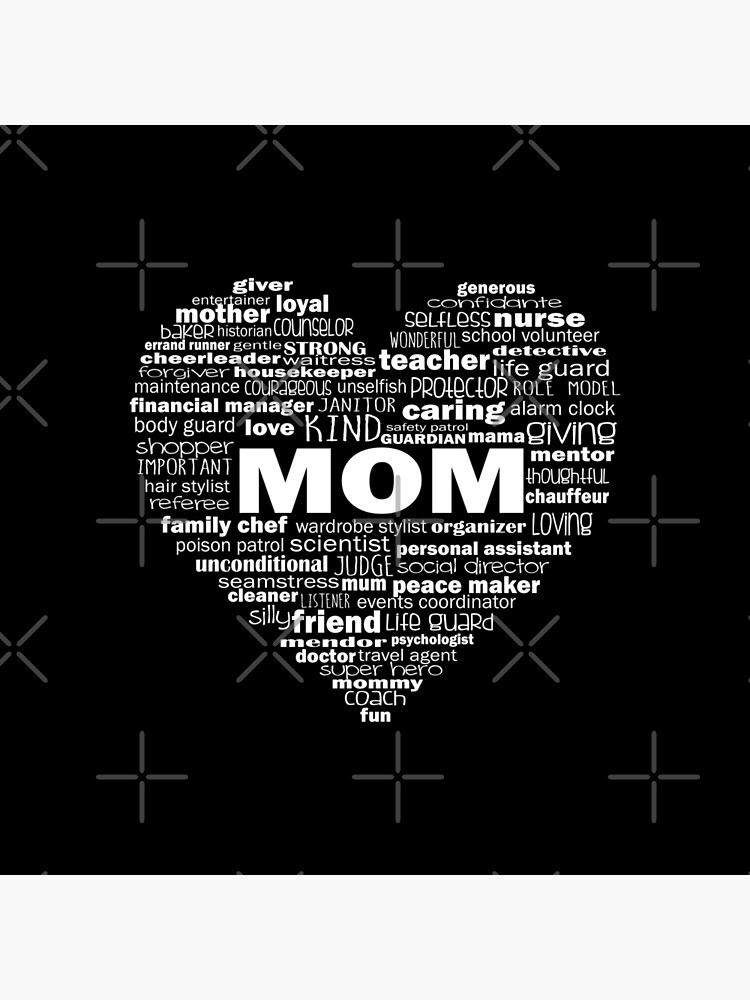 Heart Mom Words in White by jitterfly