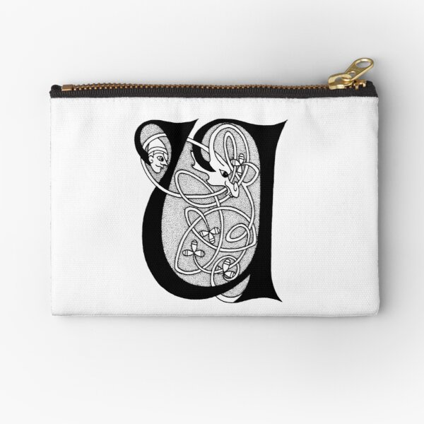 Knight and Dragon Alphabet - U - black and white Zipper Pouch