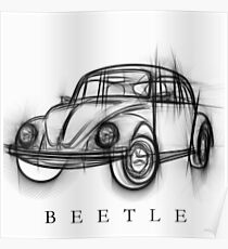 VW Beetle Illustration Poster