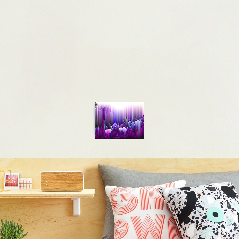 Rain of Lavender - Glitch Abstract Pixel Art Photographic Print