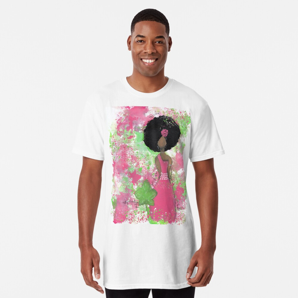 Dripping in Pink and Green Angel Long T-Shirt